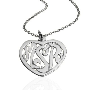 Monogram Heart Necklace Pendant
