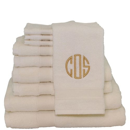 Luxury Cotton Monogrammed 10 Piece Towel Set - Ivory