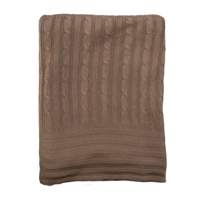 Bamboo Cable Knit Blanket - Gingerbread