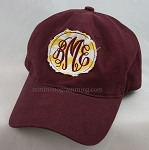 Monogrammed frayed patch hats