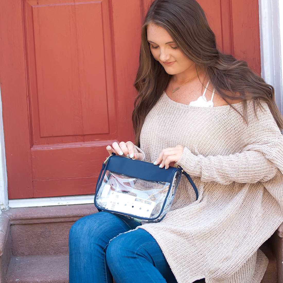 Monogrammed Clear Stadium Crossbody - Navy
