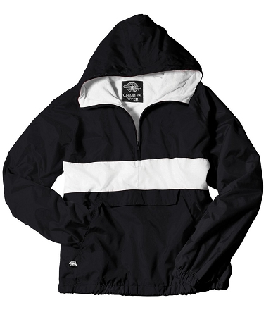 Monogrammed Anorak, Striped Black and White