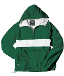 Monogrammed Anorak, Striped Forest Green