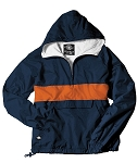 Monogrammed Anorak, Striped Navy and Orange