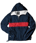 Monogrammed Anorak, Striped Navy and Red