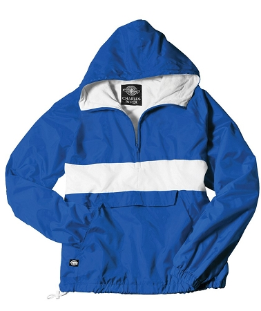 Monogrammed Anorak, Striped Royal and White