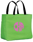 Monogrammed Tote, Lime