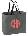 Monogrammed Tote, Charcoal