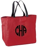 Monogrammed Tote, Red
