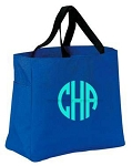 Monogrammed Tote, Royal Blue