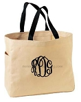 Monogrammed Tote, Stone