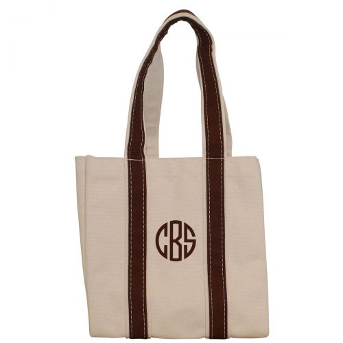 Monogrammed Four Bottle Wine Tote - Brown