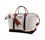Monogrammed Canvas Weekender - Brown