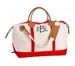 Monogrammed Canvas Weekender - Red