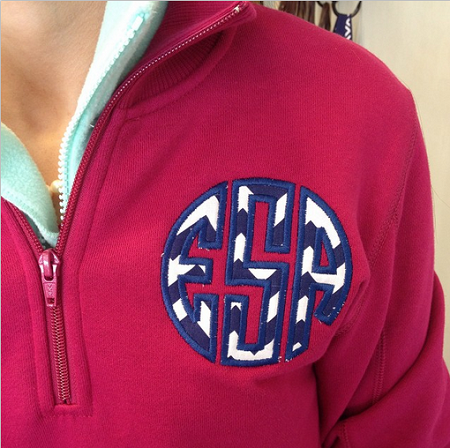 Applique' Quarter Zip Sweatshirt