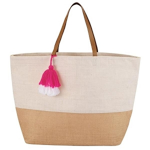 Monogrammed Color Block Jute Tote - Cream