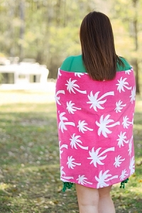 Monogrammed Beach Towel - Hot Pink Palm