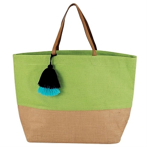 Monogrammed Color Block Jute Tote - Lime