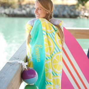 Monogrammed Beach Towel - Main Squeeze