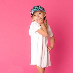 Monogrammed Printed Girls' Cap - Tropi-Cool