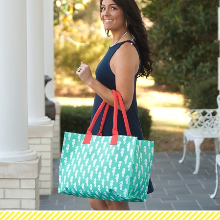 Monogrammed Tote - Mint Seahorse