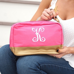 Monogrammed Cabana Cosmetic - Pink