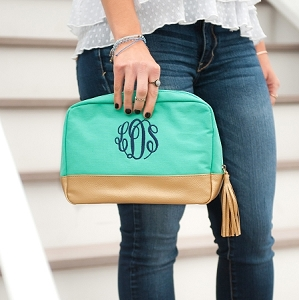Monogrammed Cabana Cosmetic - Mint