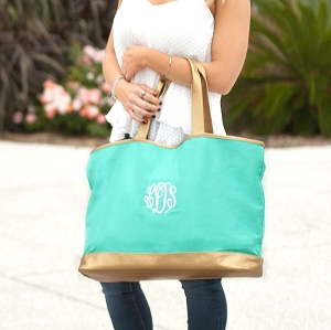 Monogrammed Cabana Tote - Mint