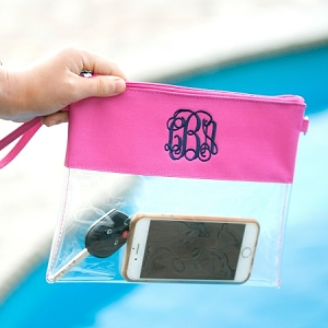 Monogrammed Clear Purse - Hot Pink