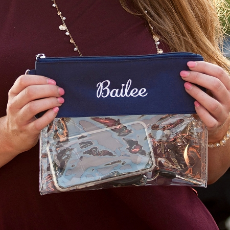 Monogrammed Clear Purse - Navy