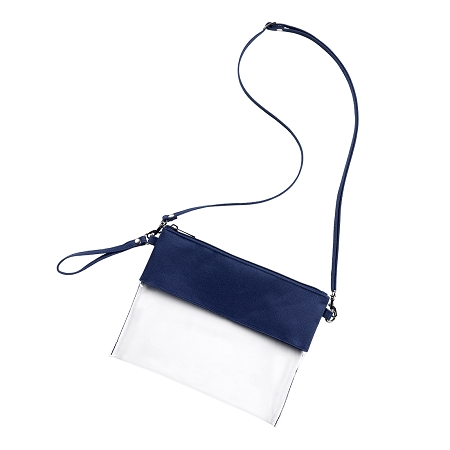 Monogrammed Clear Stadium Purse - Navy