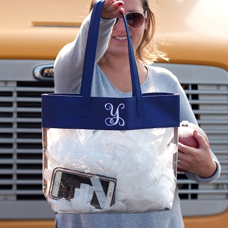Monogrammed Clear Stadium Tote - Navy