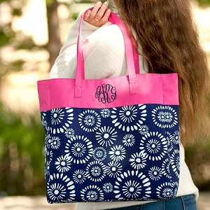 Monogrammed Patterned Tote - Riley