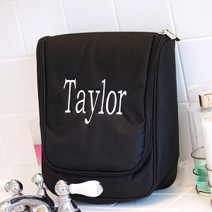 Monogrammed Hanging Travel Case - Black