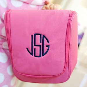 Monogrammed Hanging Travel Case - Hot Pink
