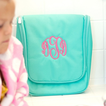 Monogrammed Hanging Travel Case - Mint