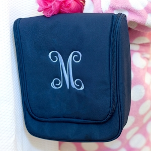 Monogrammed Hanging Travel Case - Navy