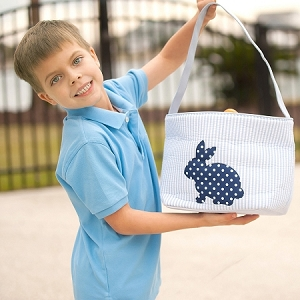 Monogrammed Seersucker Easter Bucket - Blue