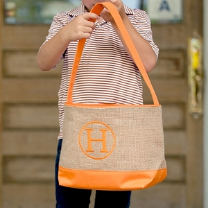 Monogrammed Orange Burlap Bucket