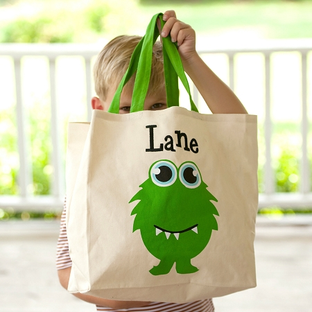 Monogrammed Canvas Tote - Monster