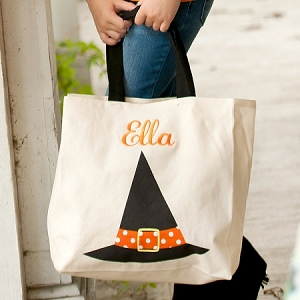 Monogrammed Canvas Tote - Witch Hat