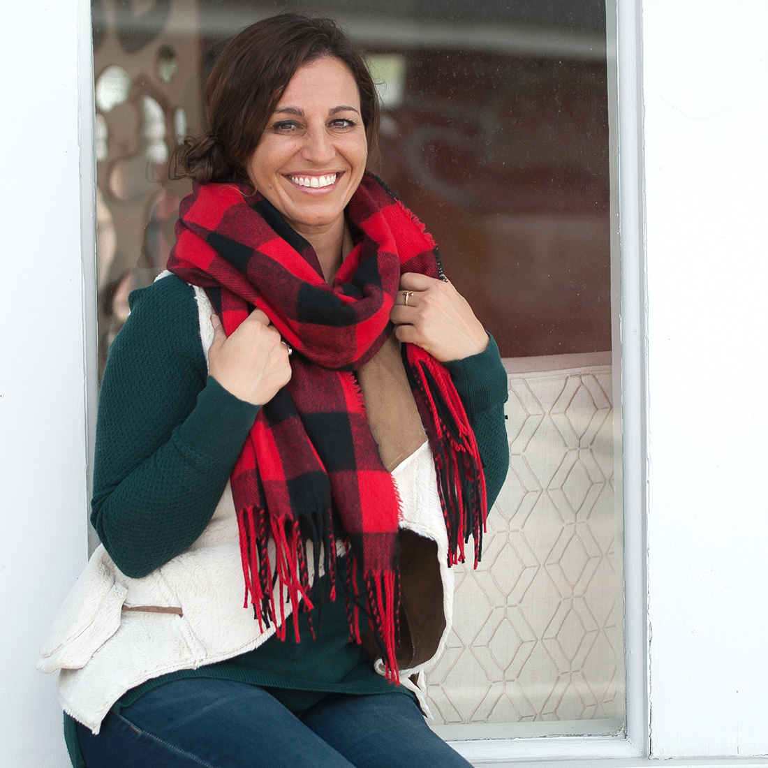 Monogrammed Scarf - Red Buffalo Check
