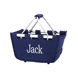 Monogrammed Mini Market Basket, Navy