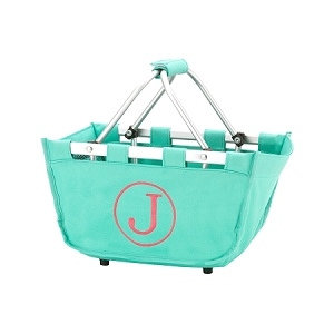 Monogrammed Mini Market Basket, Mint