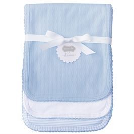 Monogrammed Baby Burp Cloth Set - Blue Pointelle