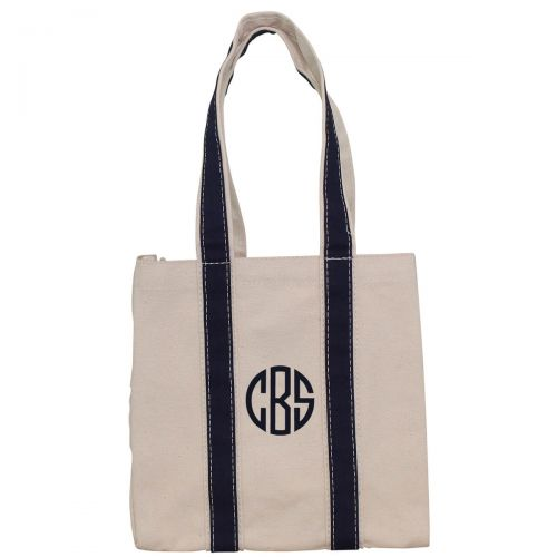 Monogrammed Four Bottle Wine Tote - Navy