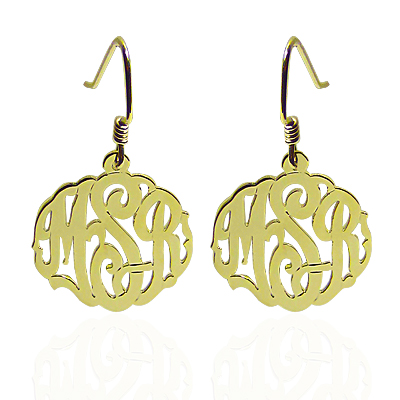 Monogrammed Earrings on French Wire - Script
