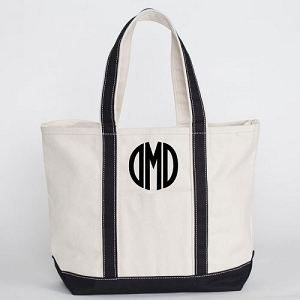 Monogrammed Medium Boat Tote - Black