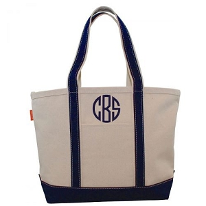 Monogrammed Medium Boat Tote - Navy