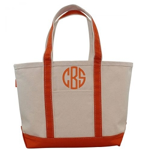 Monogrammed Medium Boat Tote - Orange